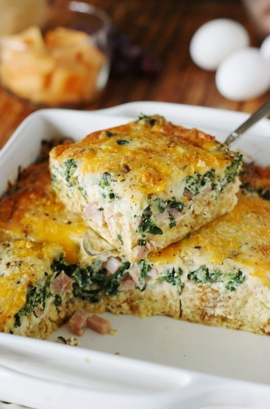 Ham & Cheese Breakfast Casserole with Spinach - Delicious layers of ham, cheese, and spinach with extra flavor punch from a surprise ingredient.