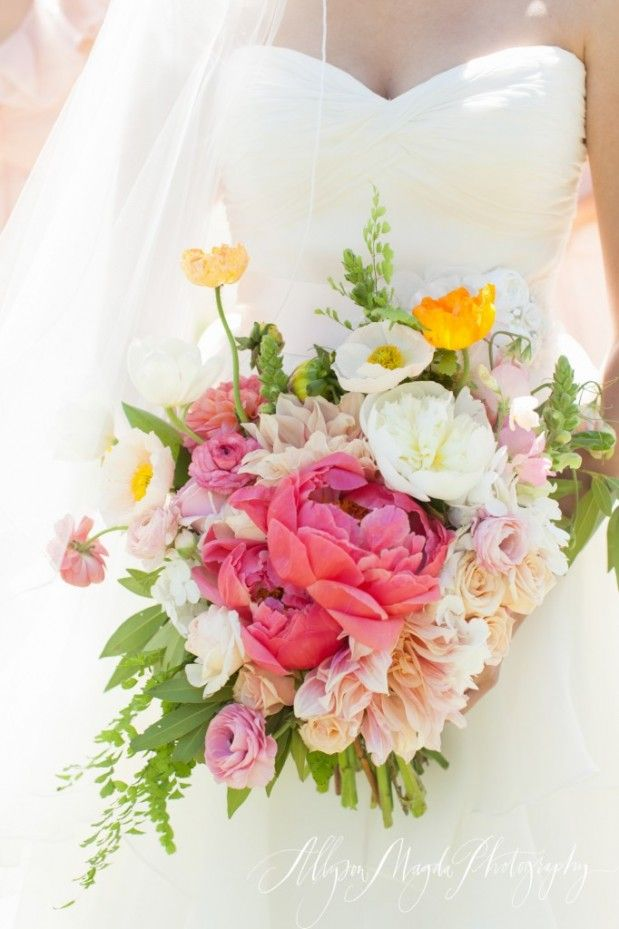 pink, cream, yellow and white bouquet