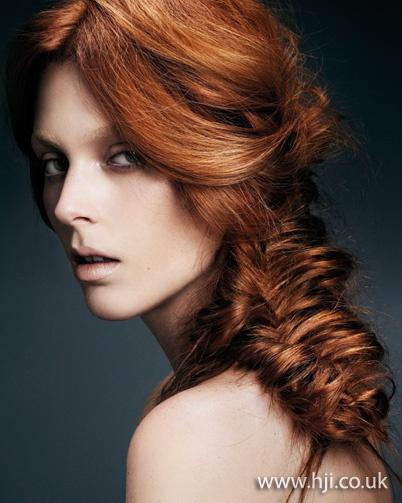 Redhead braids blow