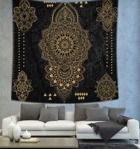 Black mandala tapestry Bohemian tapestry by Christinedecorshop