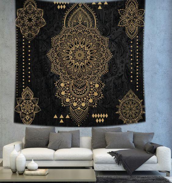 Black mandala tapestry Bohemian tapestry by Christinedecorshop