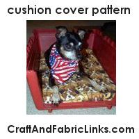 Sewing pattern for a small cushion cover. Use for pet carrier cushion, baby changing table, and other small cushions.