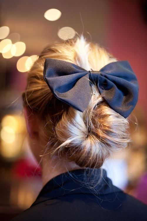 Also works with a leather bow barrette :: bun :: low bun :: bow :: hair :: hairstyle :: sweet :: updo ::
