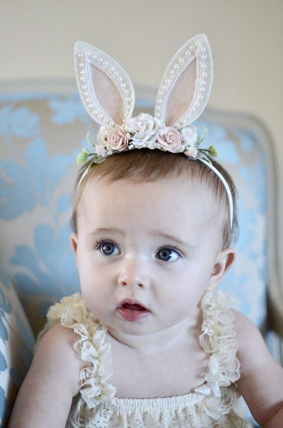 first birthday girl easter headband baby headband,lace bunny ears,newborn headband,flower crown animal ears headband bunny ears headband