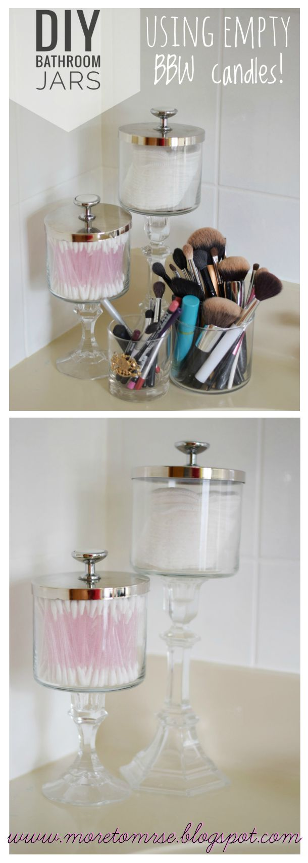 Make some DIY Apothecary Jars for your bathroom out of empty Bath and Body Works Candle jars! So easy! Pretty bathroom storage! DIY project. Easy DIY