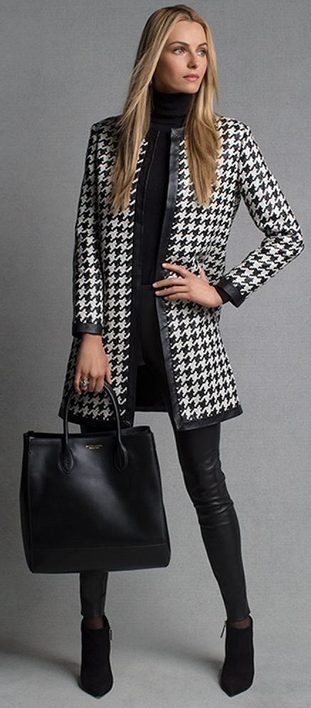 Stitch Fix: Great jacket! Love houndstooth and like the clean lines and leather trim.