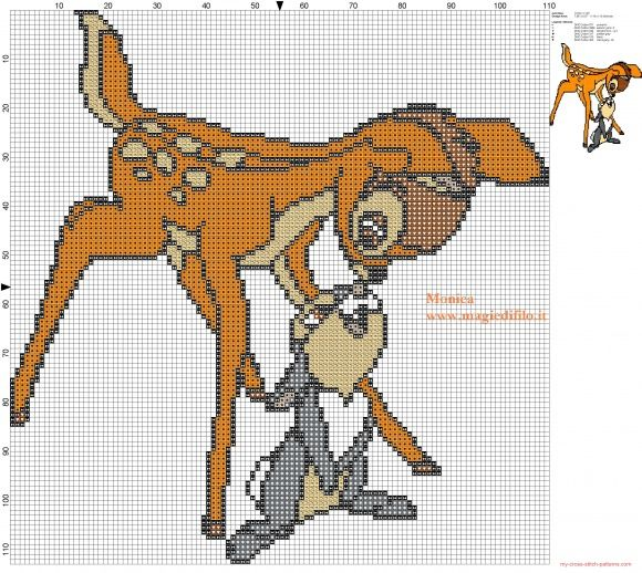 Bambi and Thumper 2 cross stitch pattern