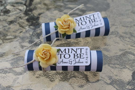 "Mint wedding Favors - Set of 24 mint rolls - ""Mint to be"" favors with personalized tag - navy, yellow, nautical stripe on Etsy, $43.20"
