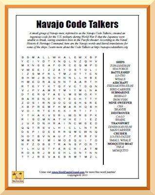 Navajo Code Talkers Word Search