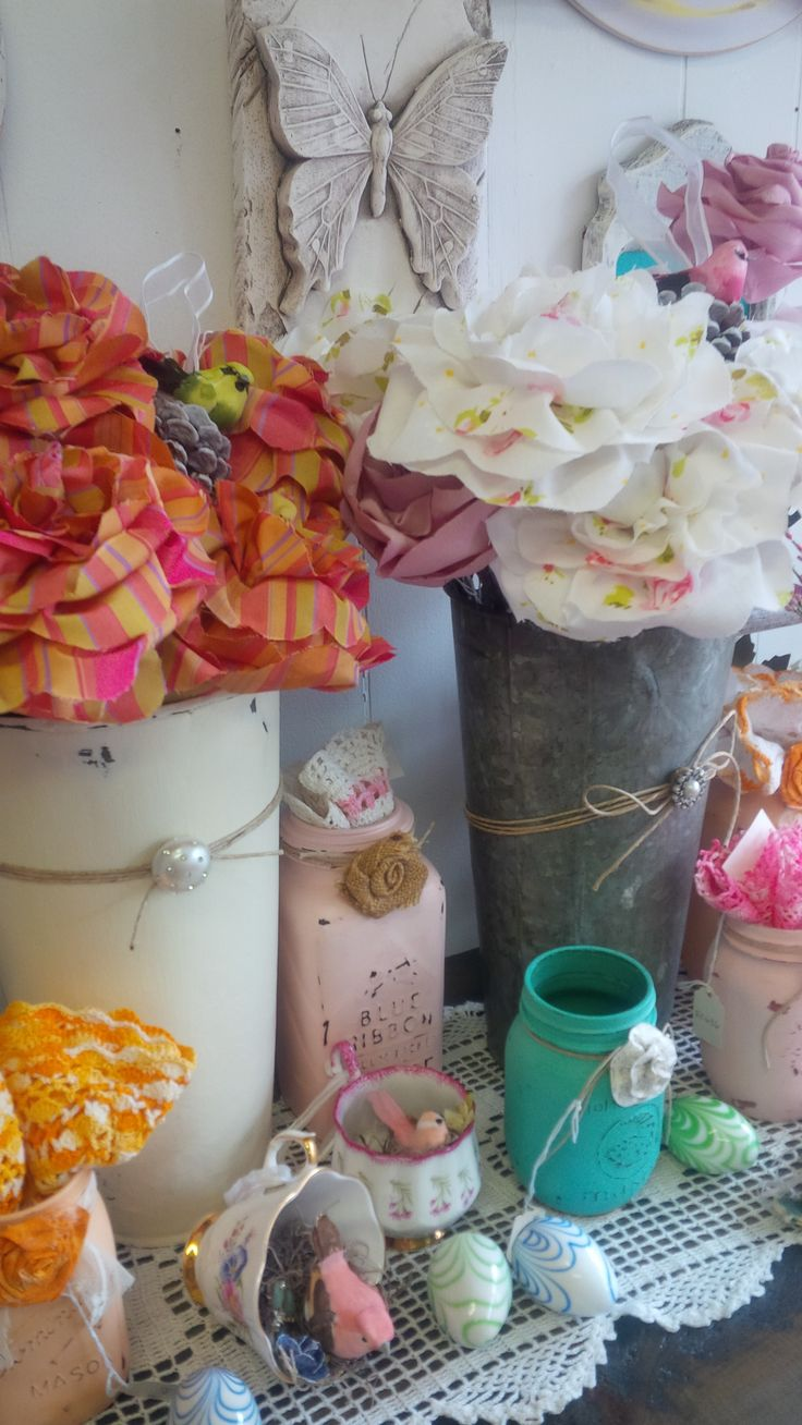 Hand Made Fabric Flowers  Available at Mariposa Design 73 Foster Street, Perth, Ontario K7H 1R9