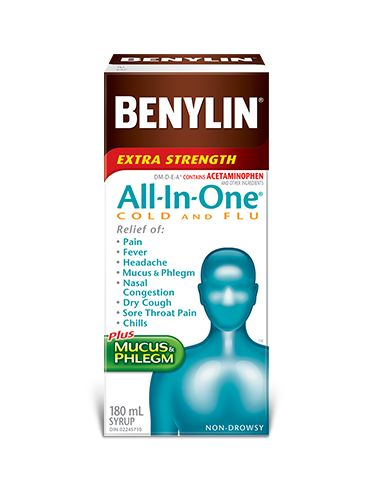 BENYLIN® EXTRA STRENGTH All-In-One® COLD AND FLU Syrup is a complete product to help relieve ALL of your COLD AND FLU symptoms with 1 simple solution. Fast, effective relief of: Pain Fever Headache Mucus & Phlegm Nasal Congestion Dry Cough Sore Throat Pain Chills Plus Mucus & Phlegm Packaged in bottles of 180 mL and 270 mL.