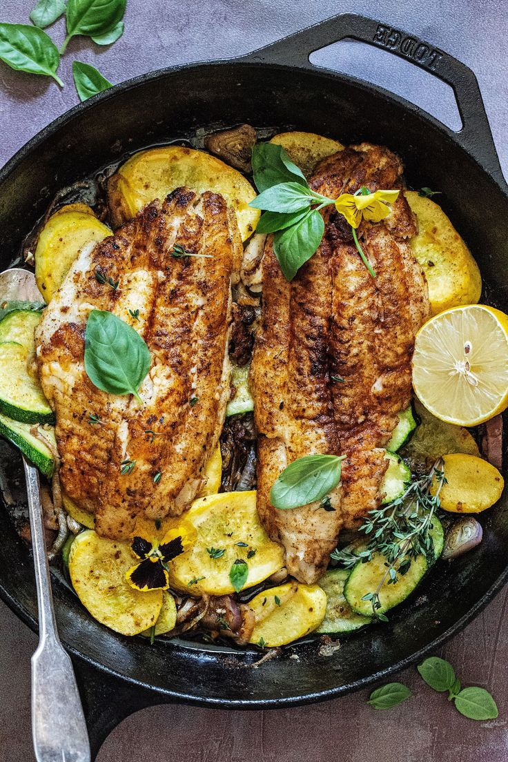 Jul 13, 2020 – A total favorite of ours, this Blackened Garlic Butter Catfish with Summer Squash is the perfect quick an…
