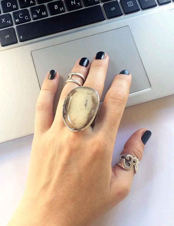 Big beige ring natural agate ring with stone stone ring