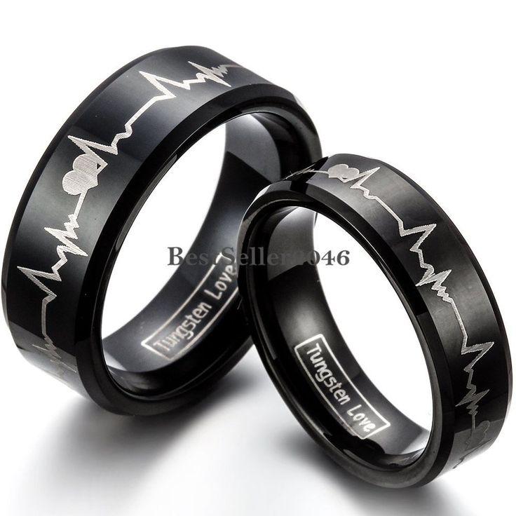 Schwarz Wolframcarbid Ring Ehering Trauring Partnerringe Herzschlag Laser Gravur  Verschiedenes