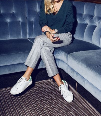 Blue v-neck, grey tailored trousers + Stan Smith Adidas trainers