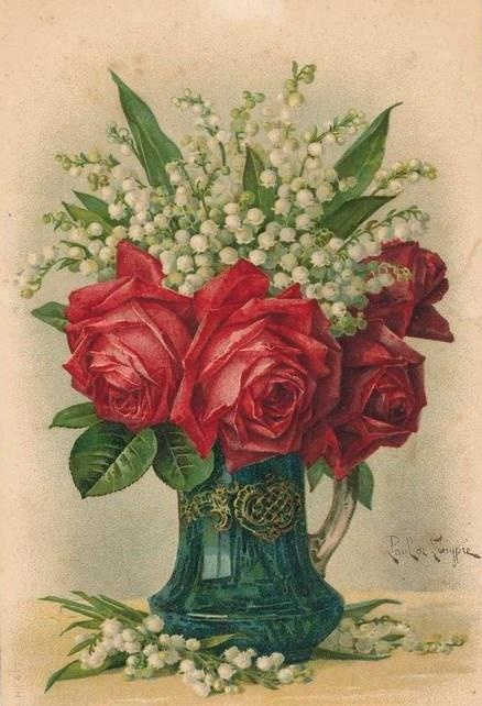 beautiful painting of roses and lily of the valley by artist Paul de Longpre