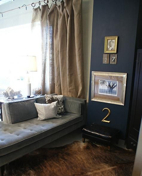 Dark Navy Wall With Brown Accents Think Burlap Like Window Treatments Warm