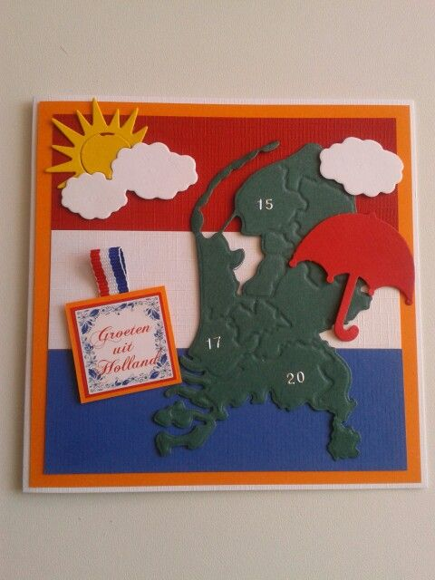 Kaart met vlag en nederland en het weer. Tekst..groeten uit holland..
