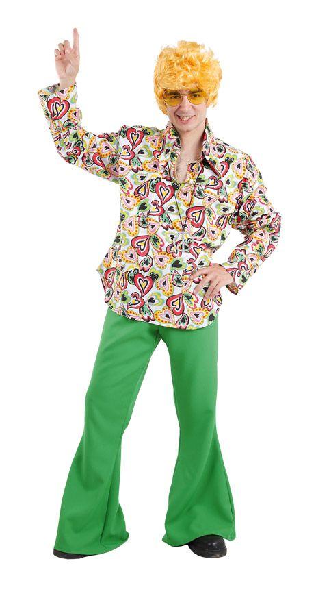 DisfracesMimo, disfraz de hippie colorido hombre varias tallas. Con este traje volver�s a aquellos maravillosos a�os en los que primaba el lema paz y amor.Este disfraz es ideal para tus fiestas tem�ticas de disfraces de hippies y a�os 60,70 y 80 para adulto. fabricacion nacional
