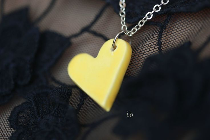 Yellow Heart Necklace Pottery Jewelry Ceramic Pendant Sterling Silver Plated Chain Recycled Paper Box