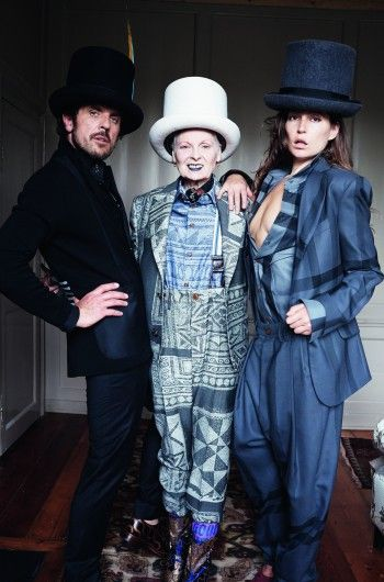 Vivienne Westwood, husband Andreas and Stella Schnabel wearing hats by Prudence Millinery for Gold Label Autumn Winter 2014 2015 http://prudencemillinery.com