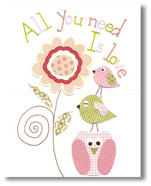 Kids wall art - baby nursery decor - nursery wall art - children wall art - owl - bird - pink green - All You Need Is Love 8x10 print
