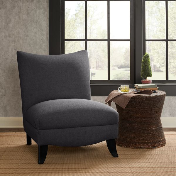 Madison Park Farren Armless Curved Back Chair --Charcoal