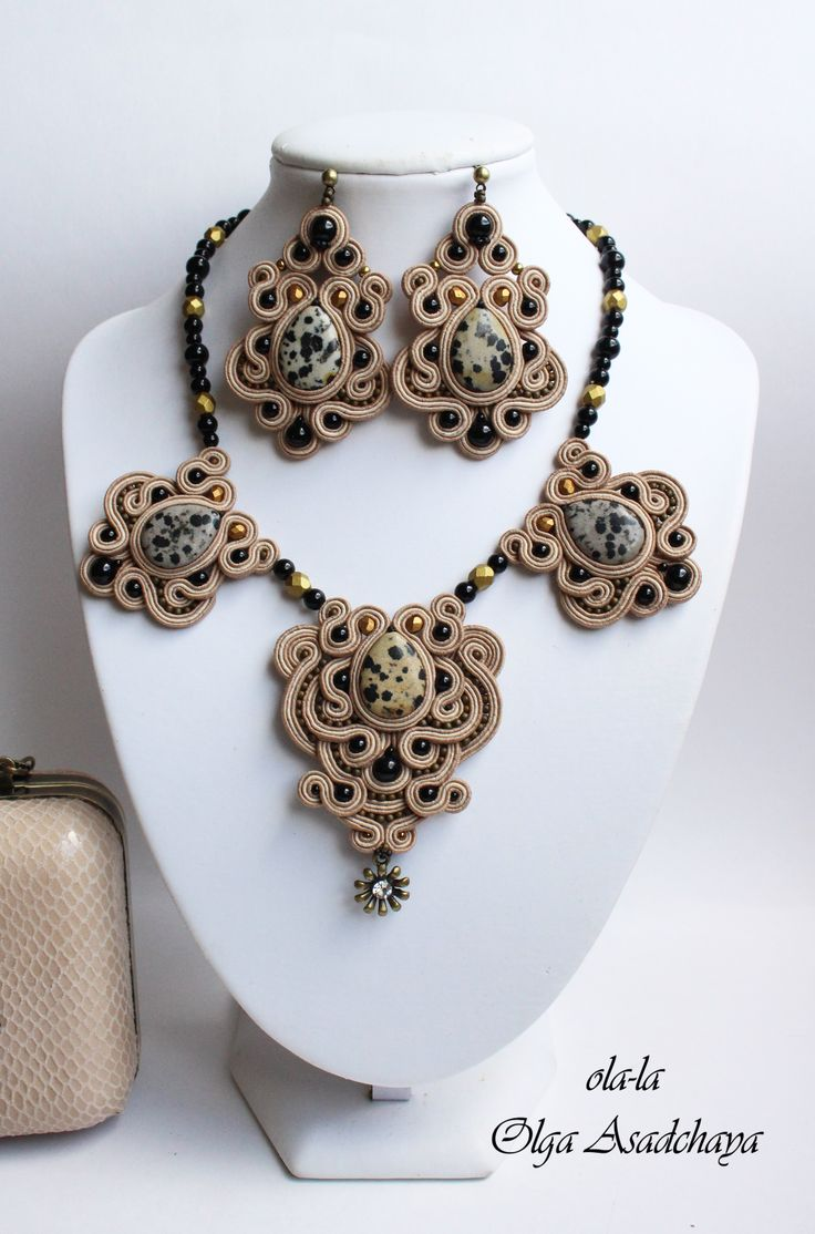 """collection """"Savannah"""" clutches, necklaces, earrings """"Sands savanna"""" soutache, genuine Italian leather, natures. Stone - leopard jasper, glass beads, Japanese beads, metal. suspension"""