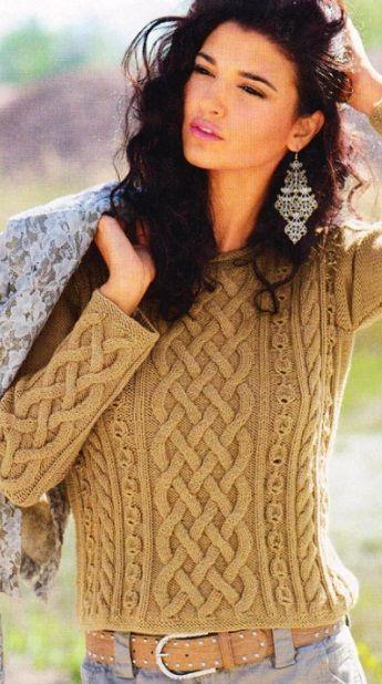 Короткий пуловер спицамn Love this. too bad the pattern isn't in english