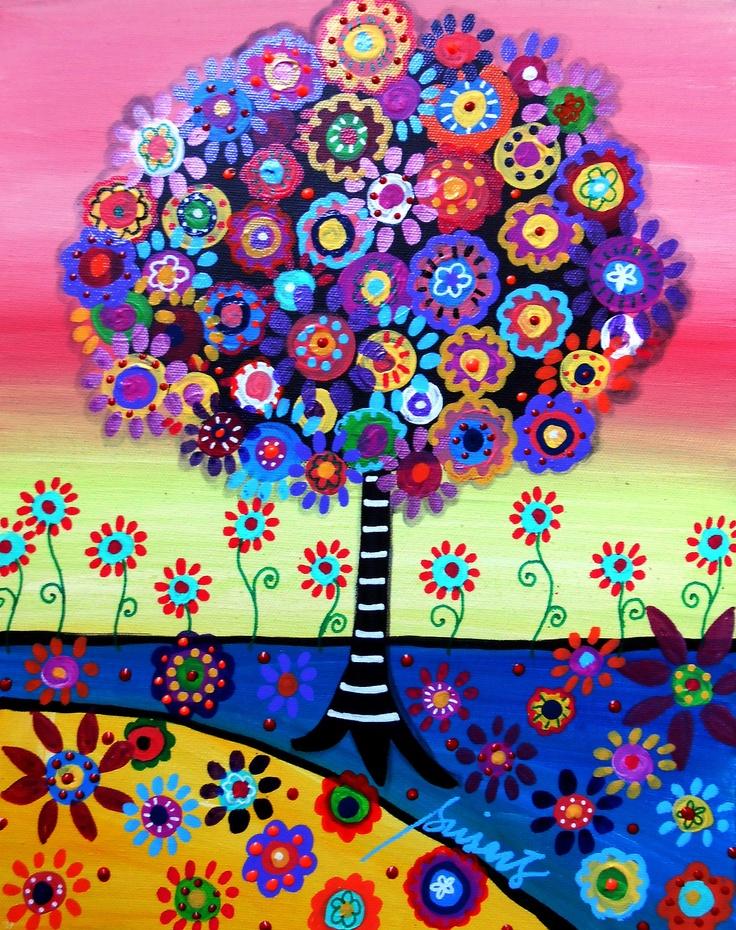 MEXICAN Folk Art TREE OF LIFE Flowers UNITY Original PRISARTS Whimsical_PRISTINE   eBay