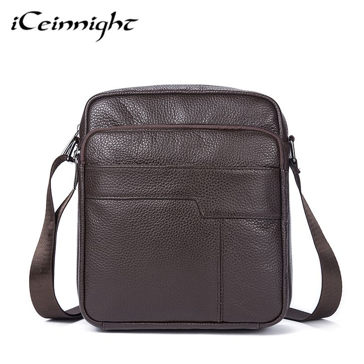 iCeinnight Genuine Leather Casual Men Shoulder Bags Vintage Fashion Men Messenger Crossbody Bags High Quality Small Men Bags #Affiliate