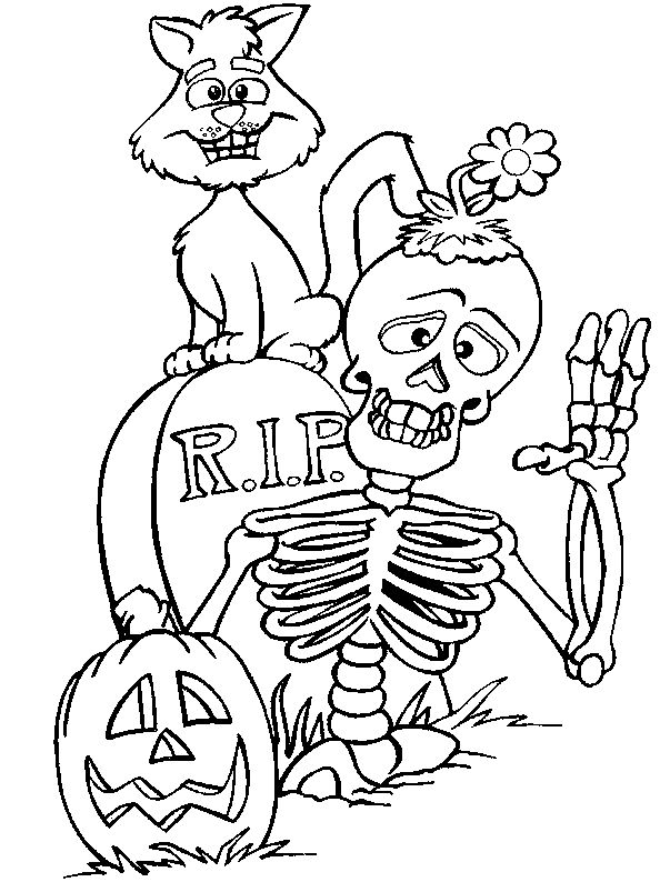 Halloween Skeletons Coloring Pages 7 ,colouring Pictures