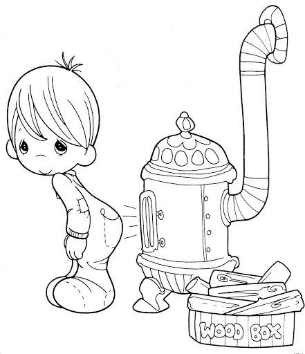 Heater - Precious Moments coloring pages.