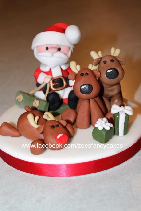 Santa and a few of his reindeer - Cake by Zoe's Fancy Cakes more at https://www.facebook.com/zoesfancycakes