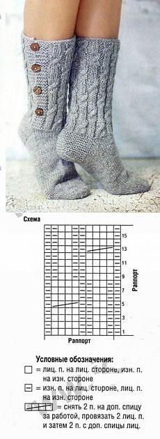 Высокие носки с пуговицами