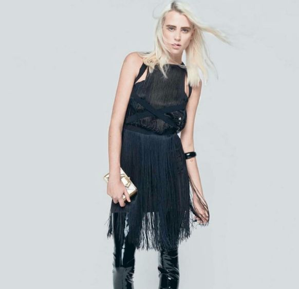 """Mangano on Io Donna, Fringes in a chic-rock version Cocktail dress """"Fourtynine"""""""