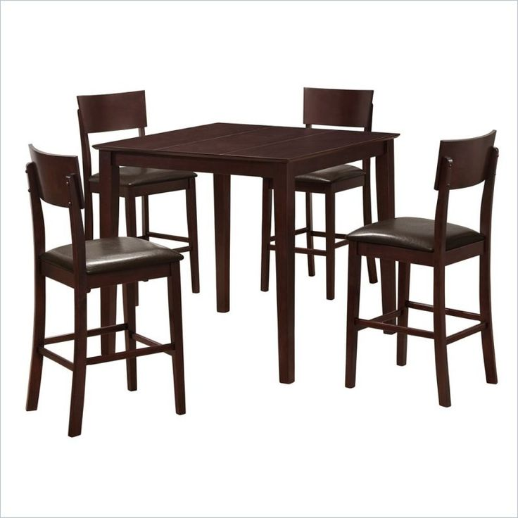Superior Walker Edison Stanley 5 Piece Wood Pub Table Set In Espresso