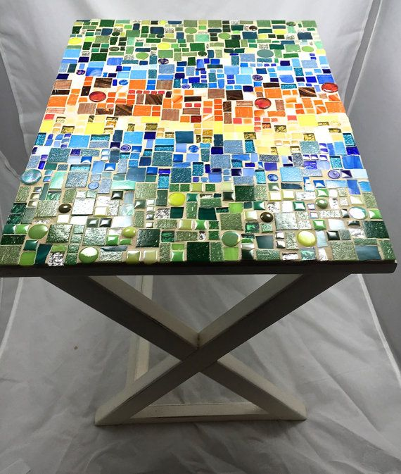 Rectangular Mosaic Side Table