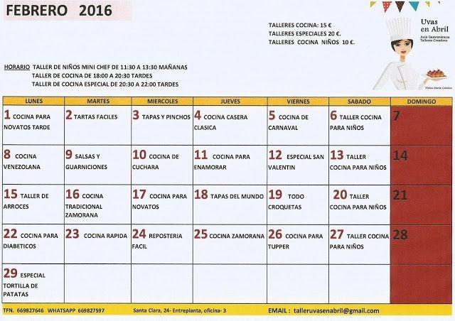 Uvas en Abril:  CALENDARIO FEBRERO 2016     UVAS EN ABRIL  ...