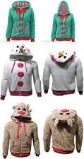 Ladies Christmas Jumpers Xmas Womens Novelty ELF/Snowman Fleece Hooded Knit