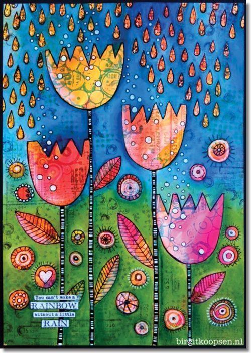 Colourful art journal page by Birgit Koopsen for Carabelle Studio