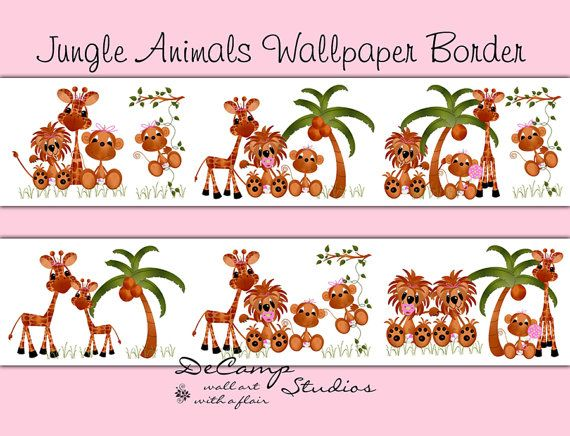 JUNGLE ANIMALS WALLPAPER wall art border decals for baby girl zoo nursery or children's safari room decor. Includes the cutest little monkey, lion, and giraffe #decampstudios