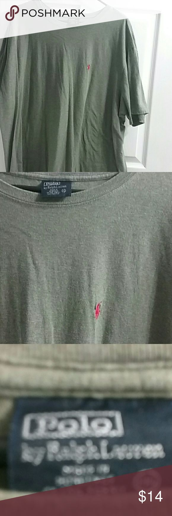 "Men's  Polo tee shirt Big  grayish green tee. Great condition.no stains..no issues..29"" long Polo by Ralph Lauren Shirts Tees - Short Sleeve"