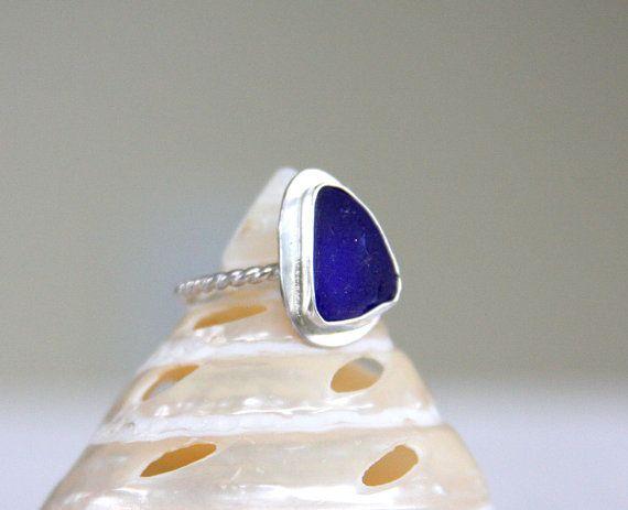 Anillo de cristal de mar mar de plata de cristal anillo