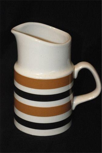 Staffordshire Potteries Bracken Ironstone Dark Brn & Tan Stripe Creamer/Milk Jug #Staffordshire