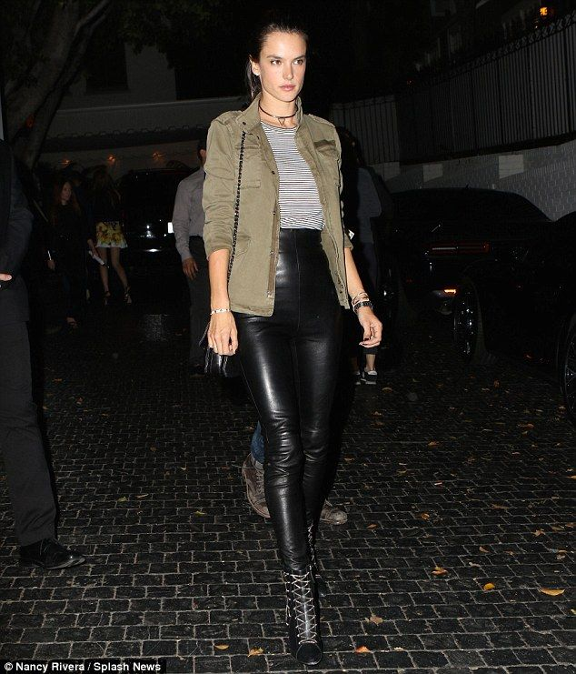 Stunning: Leggy stunner Alessandra  looked sensational as she stepped out in spray-on leather leggings