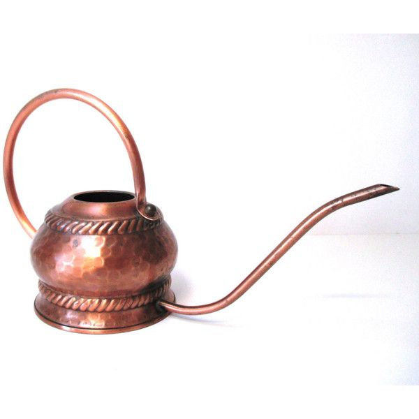 Midcentury Modern Copper Watering Can Hammered Copper Watering Can... ($68) ❤ liked on Polyvore featuring home, outdoors and garden tools