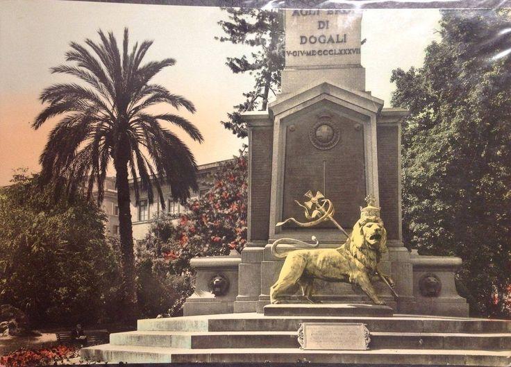 L'obelisco di Dogali nella sua attuale postazione, qui con il leone d'oro detto di Giuda trafugato durante la guerra di Etiopia, poi restituito