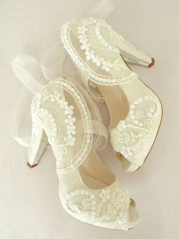 Wedding Shoes - Bridal Shoes Embroidered Ivory Lace with Pearls and  Ribbons, 4