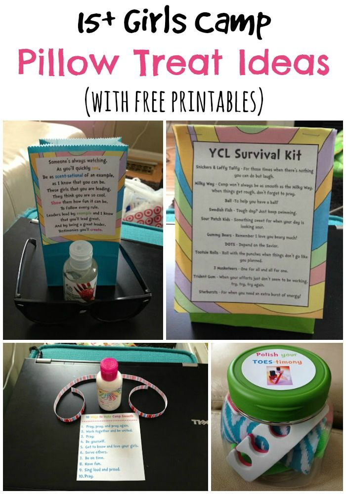 15+ girls (YW) camp pillow treat ideas with free printables from playpartypin.com